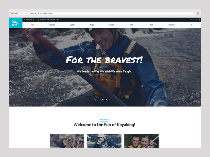 Kayaking / Paddling / Sports & Outdoors WordPress Theme