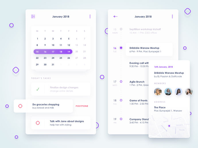 Calendar view of concept financial app