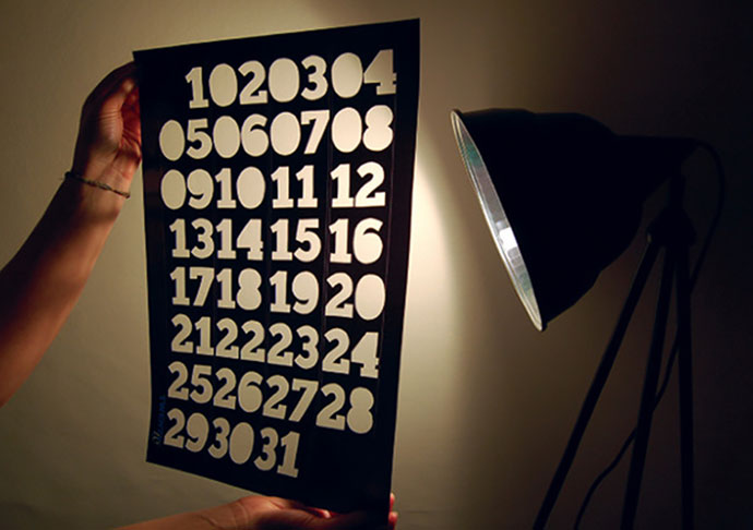 Typography cut-out Calendar