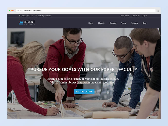 Invent - Education Course College WordPress Theme