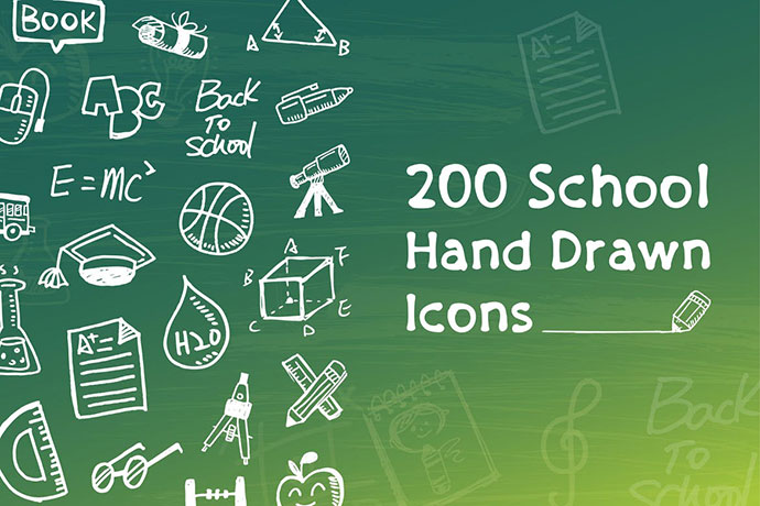 School and Education Hand Drawn Icons