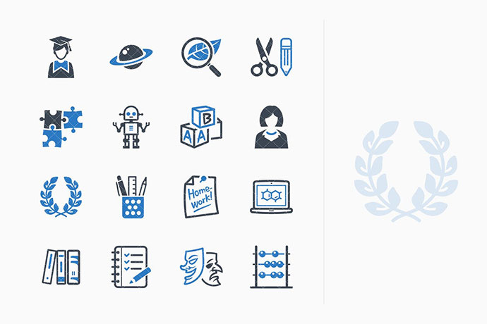 Education Icons Set 5 - Blue Series