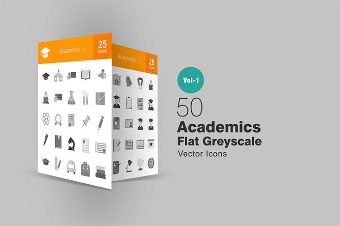 50 Academics Greyscale Icons