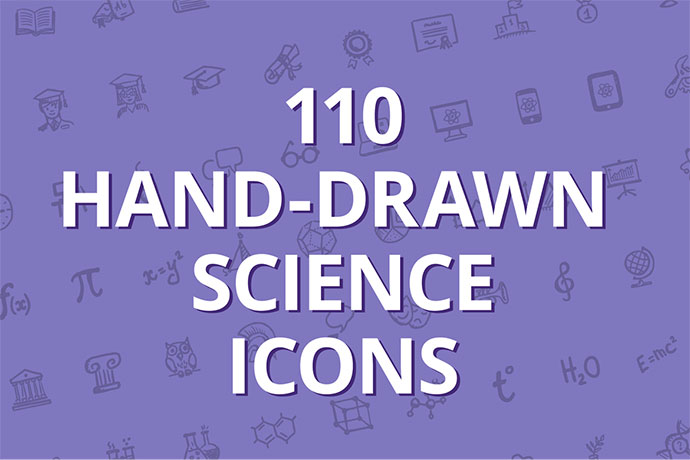 110 hand-drawn science icons