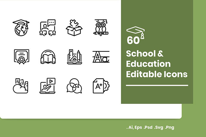 60 School and Education Icons