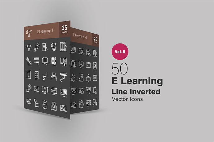 50 E Learning Line Inverted Icons