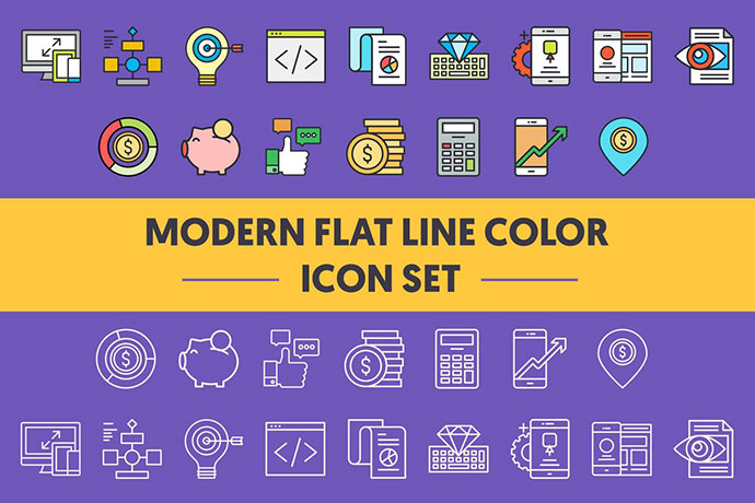 1960 Modern Flat Line Color Icons