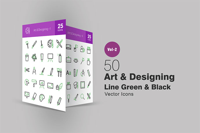 50 Art & Designing Line Green & Black Icons