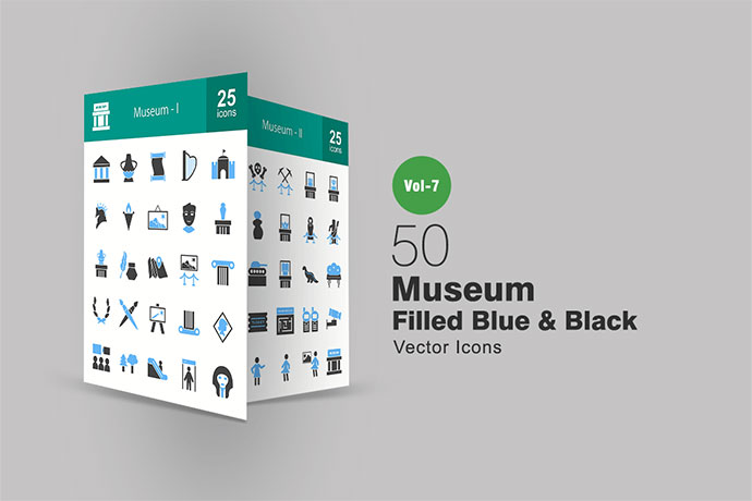 50 Museum Blue & Black Icons