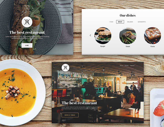 Landing page for restaurant