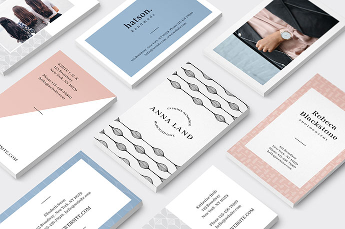 MALINA Business Cards + Logos + Seamless Pattern