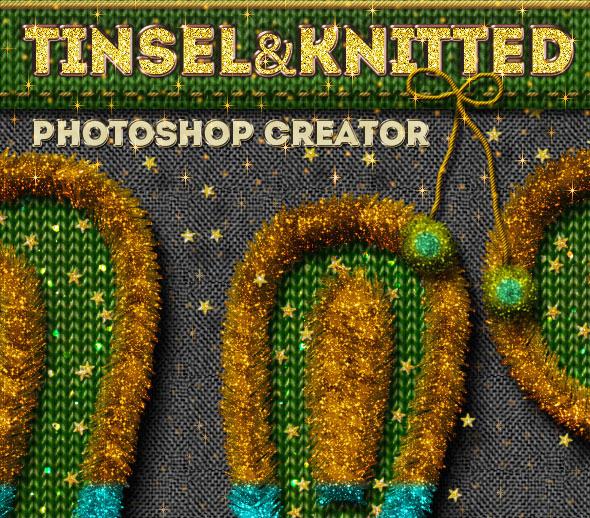 Christmas Tinsel and Knitted Photoshop Action
