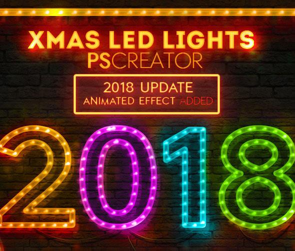 Christmas LED Light Rope Photoshop Action
