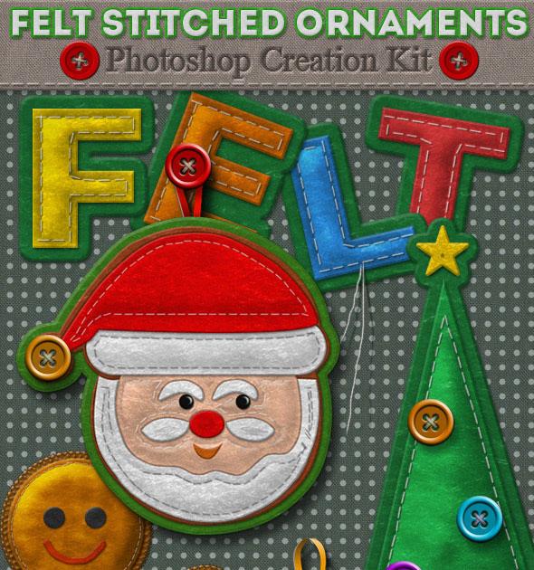 Felt Stitched Ornaments Photoshop Creation Kit
