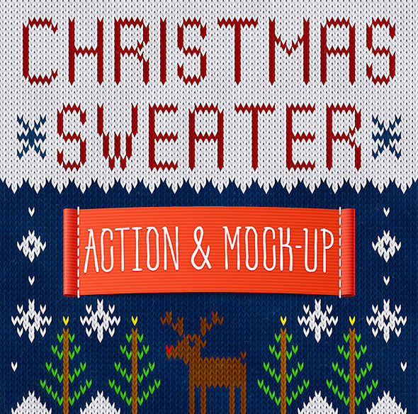 Christmas Sweater - Photoshop Actions and Mock-Up