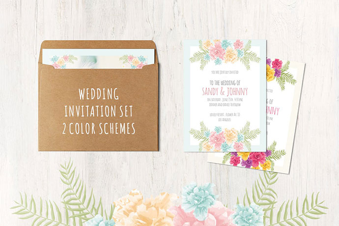 Floral Wedding Set . 13 cards