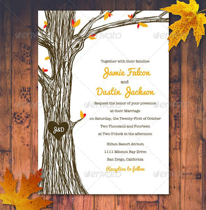 Fall / Autumn Wedding Invitation Set