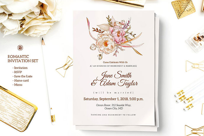 25 Gorgeous Psd Wedding Invitation Templates Bashooka