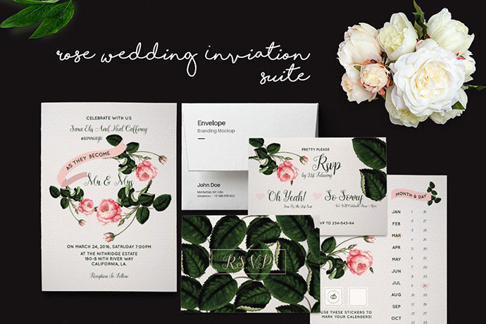 DIY Rose Wedding Invitation Suite