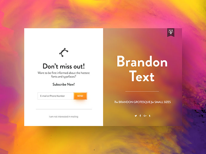 Brandon Text Font | Subscribe UI