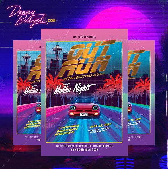 Out Run Synthwave Flyer