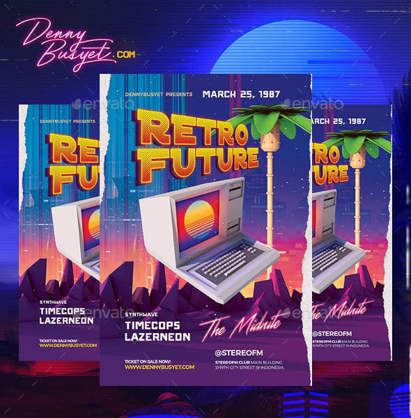 Retro Future 80's Synthwawve Flyer