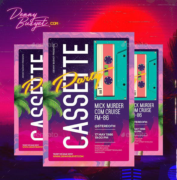 Cassette Party Retro 80's Synthwave Flyer