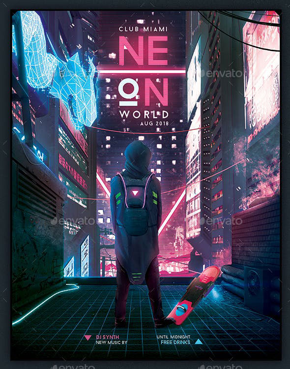 Synthwave Flyer v7 Cyberpunk World Retrowave Poster Template