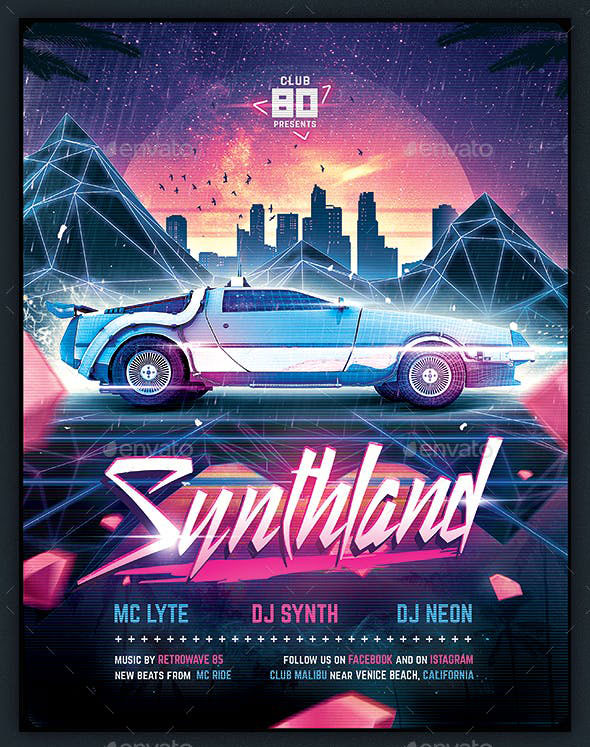 Synthwave Flyer v4 - Synthland Retrowave Series Poster Template