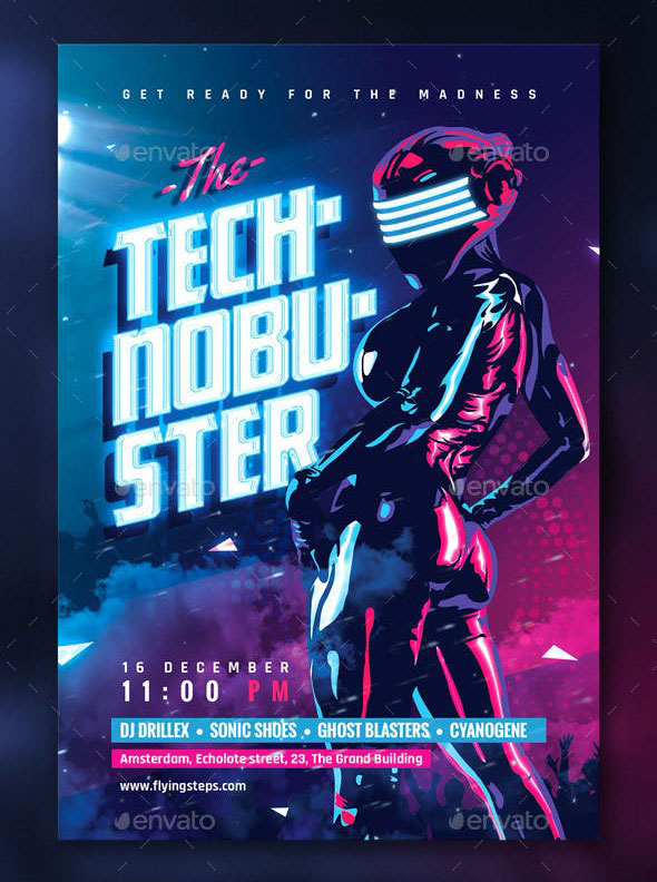 Techno Buster Party Flyer Template