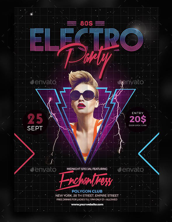 80s Electro Music party flyer