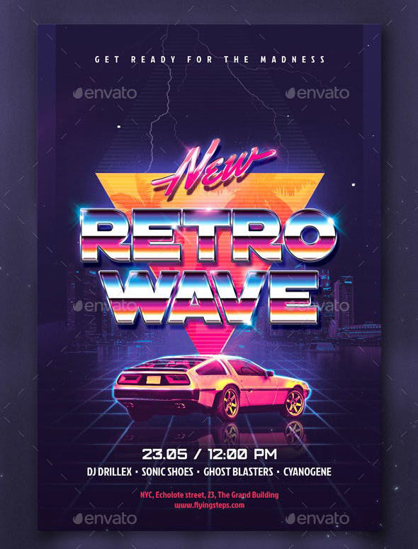 New Retro Wave Party flyer