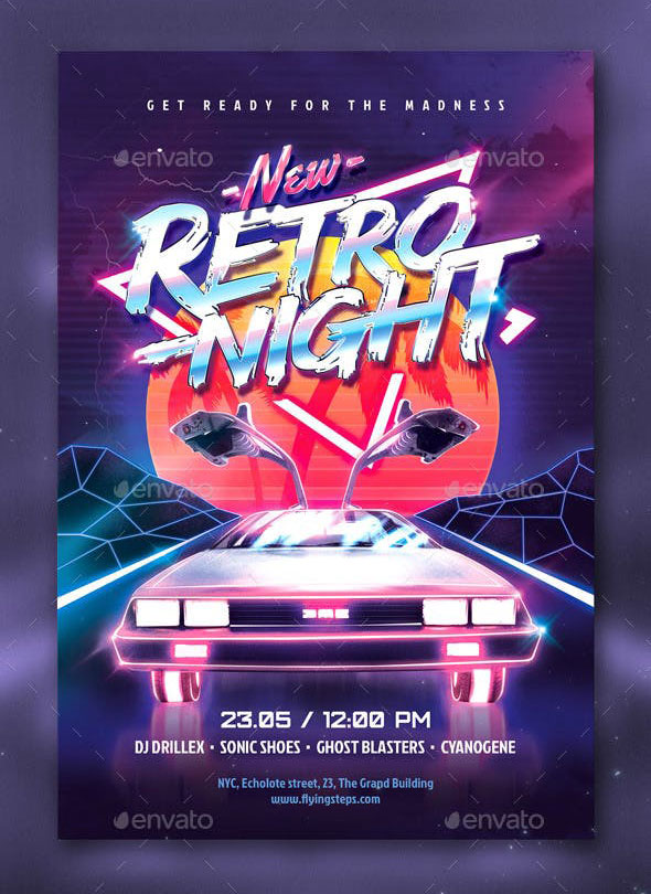 New Retro Night Party Flyer