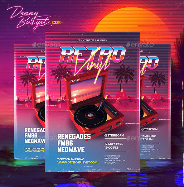 Retro Vinyl 80's Synthwave Flyer