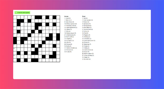 Pure CSS crossword - CSS Grid