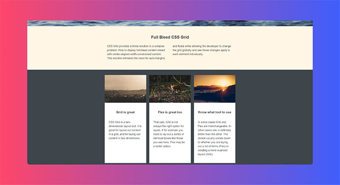 Full-bleed layout with fixed-width content