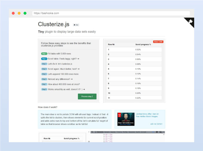 Clusterize.js