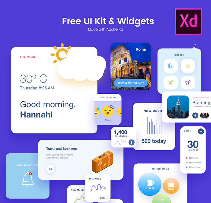 Free UI Kit and widgets made with Adobe Xd