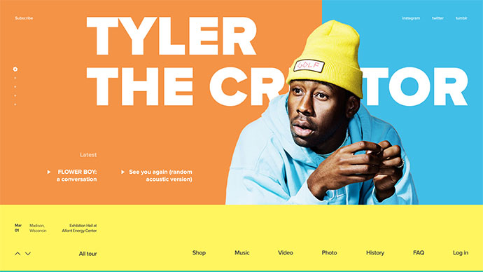 Tyler, the Creator website concept