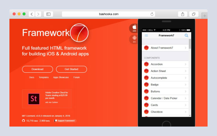 it is a free and open source mobile html framework to develop hybrid mobile apps or web apps with ios android native look and feel