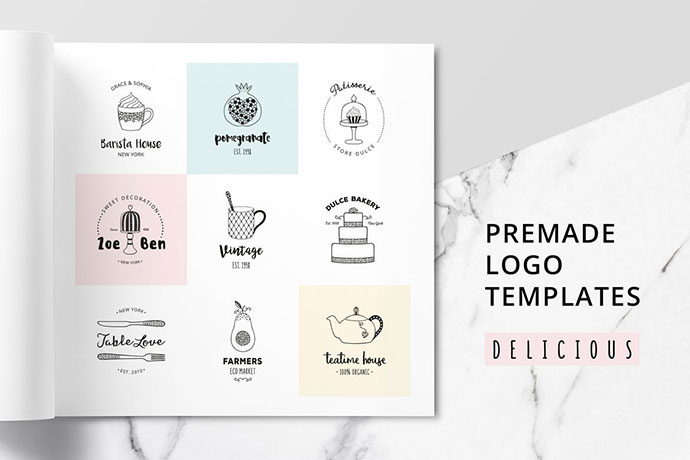 DELICIOUS Premade Logo Set