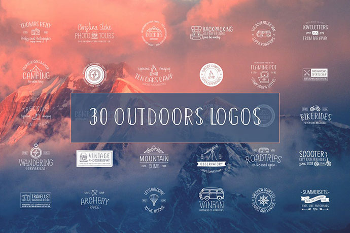 30 Outdoors Hand Drawn Logos