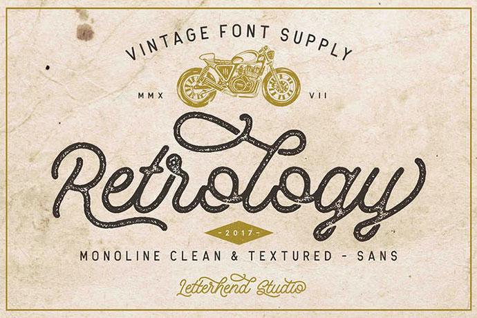 Retrology - a retro monoline script