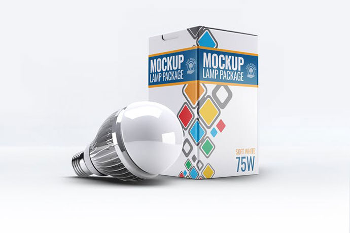 Led Lamp Package Box Mock-Up