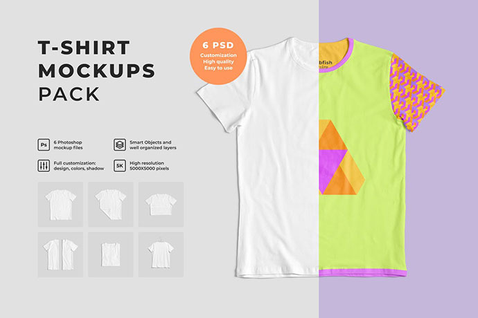 Customizable T-Shirt Mockups Pack