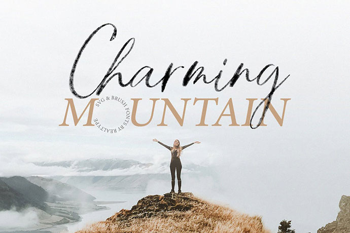 Charming Mountain Webfont, Brush & SVG Fonts