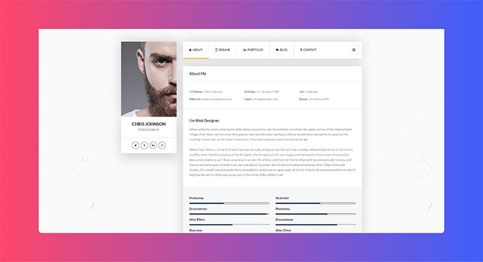 Picard - vCard & Resume WordPress Theme
