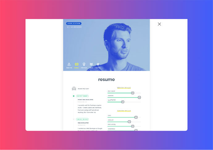 unRovr - Animated vCard & Resume WordPress Theme