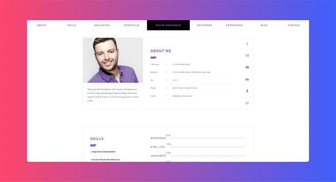 CVitae - Premium Responsive WordPress Resume