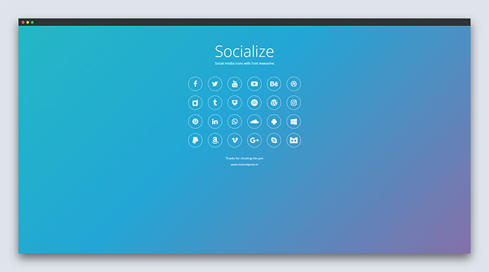 SOCIALIZE - iOS Style Social Media Icons